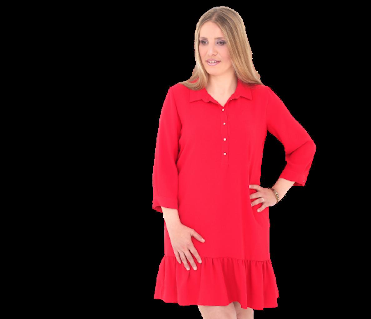 Portrait en pied de florie bouilloux portant une robe rouge